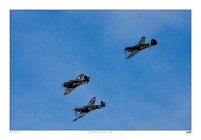 Kittyhawk Spitfire Boomerang in formation flight