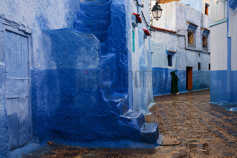 A Street in Chefchaouen at Dusk