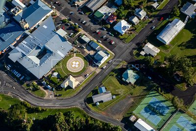 Aerial view of the Innisfail hospital in Queensland Australia.