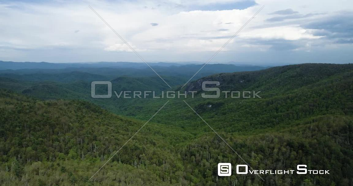 Dense forest covers vast mountain range, Blue Ridge Mountains, North Carolina, USA