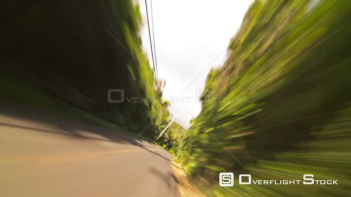 Driving time lapse clip in lush hillsides of Oahu Hawaii