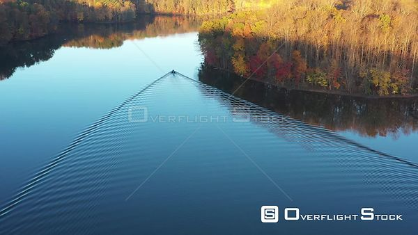 Boat Wake on a Glassy Lake, Owings Mills, Maryland, USA