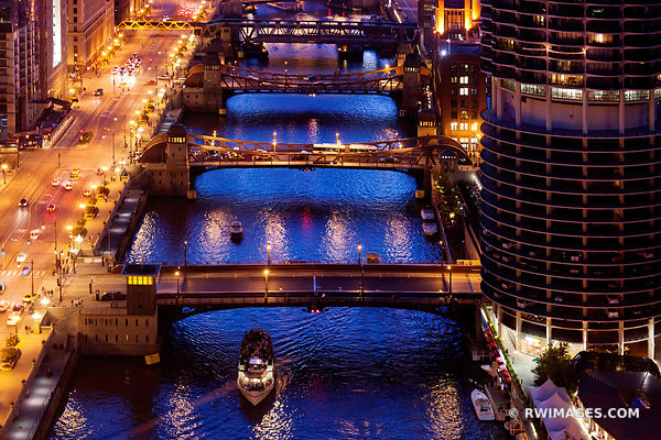 CHICAGO RIVER AND BRIDGES AT NIGHT DOWNTOWN CHICAGO COLOR