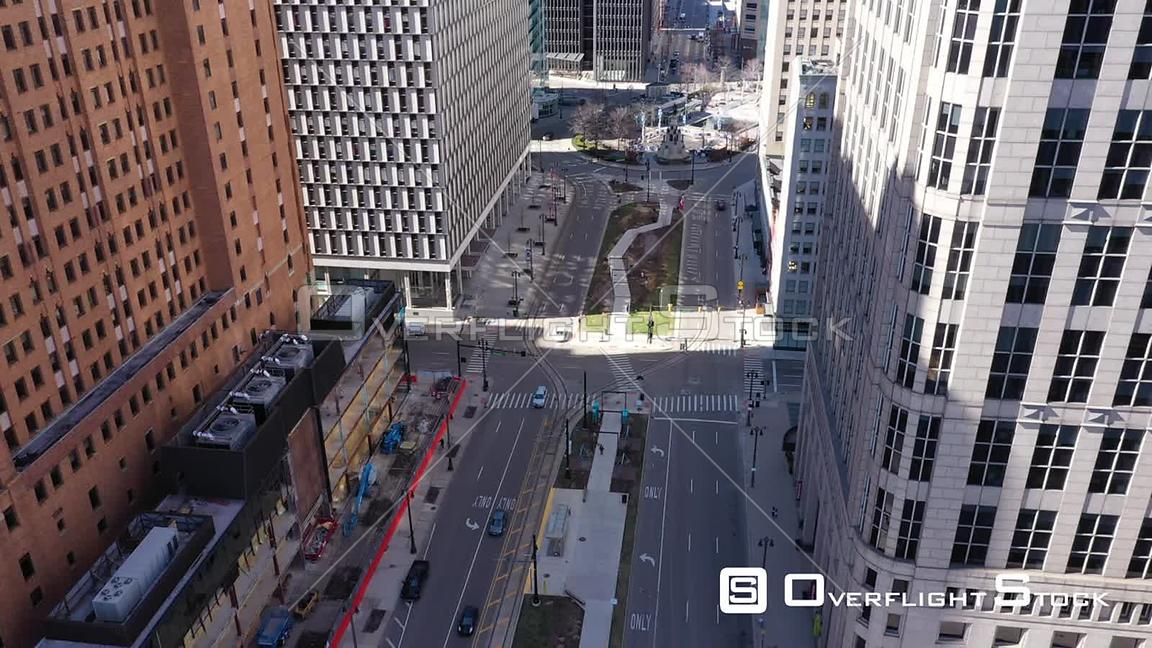 Drone Video Downtown Detroit During COVID-19 Pandemic