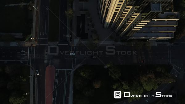 Dusk Modern Highrise Buildings of the Sacramento Skyline Drone Aerial View California