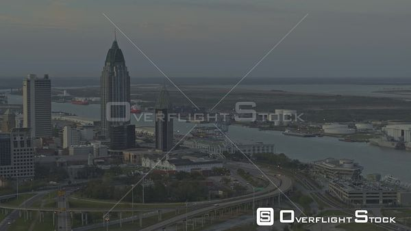 Mobile Alabama shipyards and river right to left reveal of downtown skyscrapers  DJI Inspire 2, X7, 6k