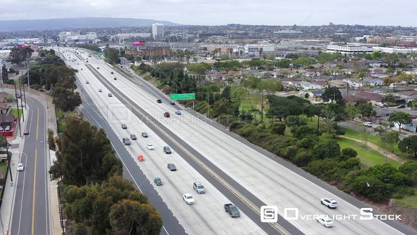 Highway 405 Mid City Neighbourhood Los Angeles California Drone Aerial View
