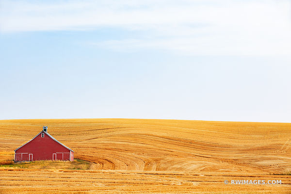 RED BARN FIELD PALOUSE FARMLAND RURAL EASTERN WASHINGTON STATE LANDSCAPE