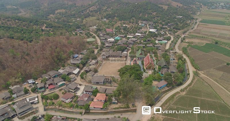 Thung Pi Thailand Aerial Traveling panoramic view of village and agriculture crops