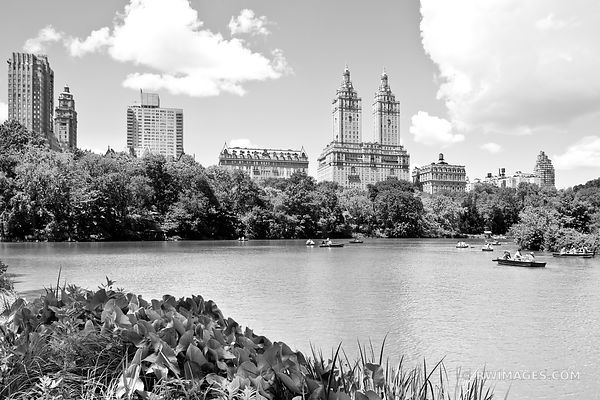 CENTRAL PARK POND AND BOATERS MANHATTAN NEW YORK CITY BLACK AND WHITE