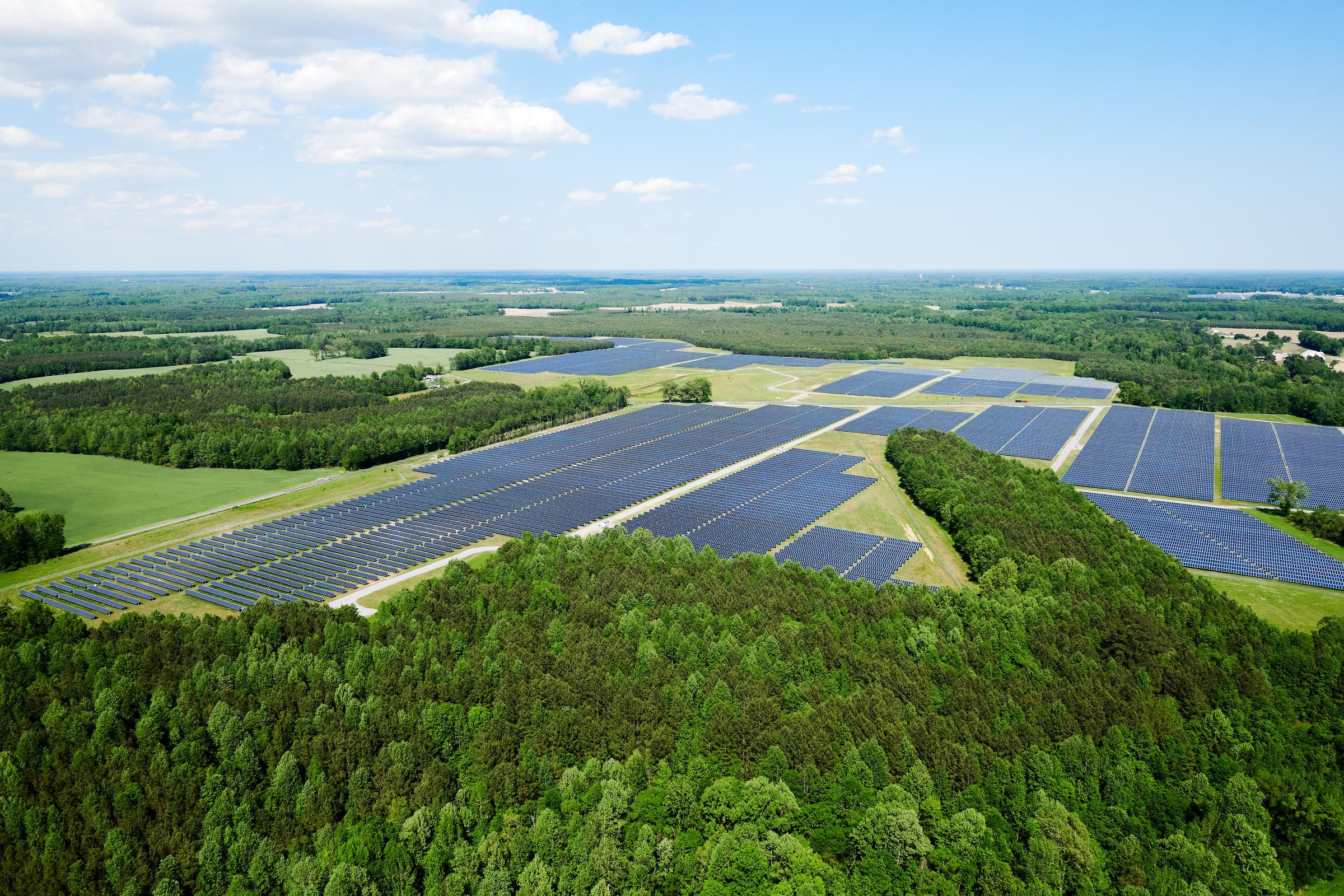 Aerail photograph of Solar Field in Virginia