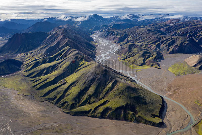 Aerial View of a Glacial Melt River at Landmannalaugar