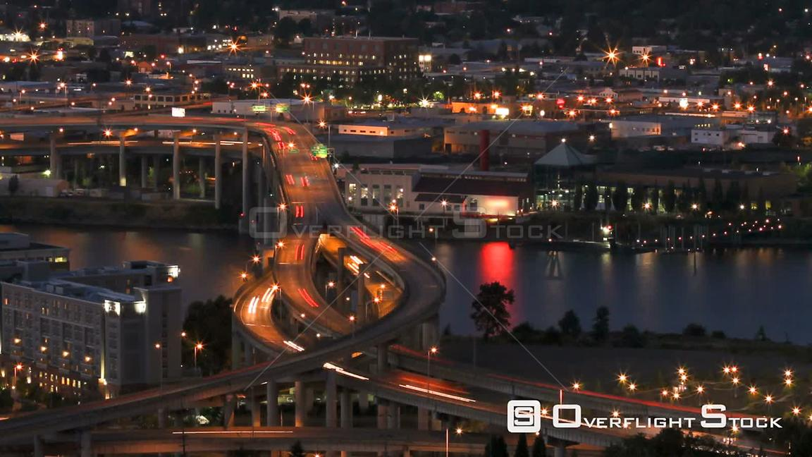 Portland Oregon Panning time lapse of I5 Marquam bridge traffic during evening.