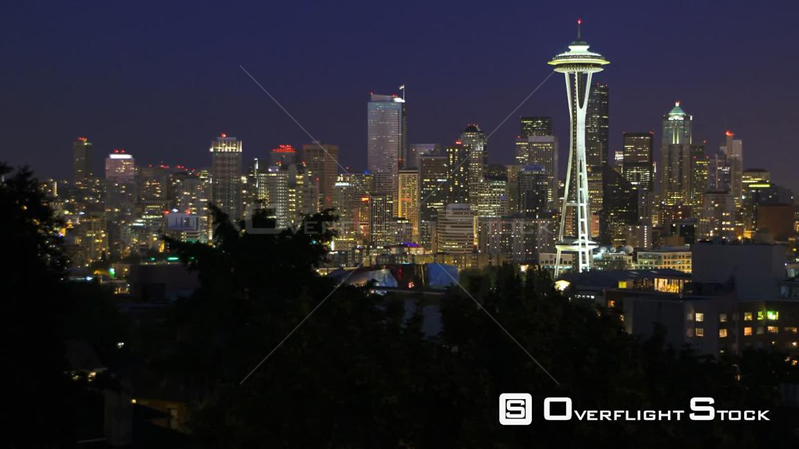 Seattle Washington State USA Seattle cityscape time lapse a couple hours after sunset.