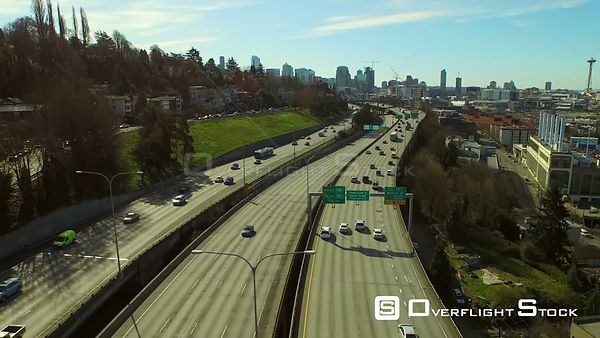 Seattle Washington State USA Flying low over freeway with cityscape views