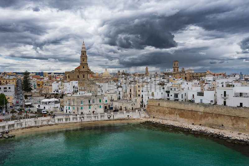 Elevated View of the Old Town of Monopoli During a Storm