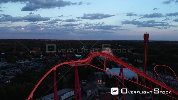 Six Flags Amusement Park Closed Due to Covid19 Chicago Illinois Drone Aerial View