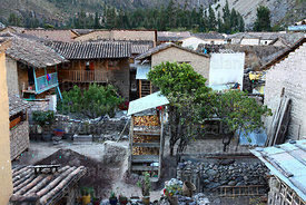 Typical houses and courtyards in village of Ollantaytambo, Sacred Valley, Peru