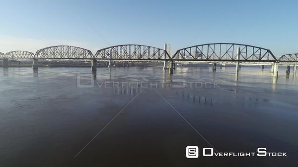 Ohio River Looking Across Bridges to Downtown Louisville Kentucky Drone Aerial View