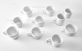 Set of various models of coffee cups seen from above.