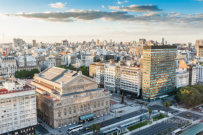 Aerial View on Avenida 9 De Julio in Centre of City of Buenos Aires With Teatro Colon in the Foreground, Argentina