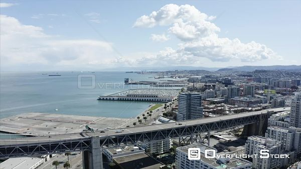 Bay Bridge The Embarcadero Drone Aerial View Covid19 Lockdown San Francisco California
