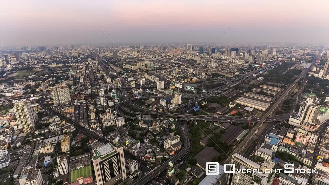 Late Evening Cityscape Downtown Time Lapse of Bangkok Thailand