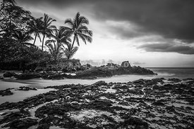 Paako Cove Secret Beach Maui Hawaii Black and White Photo