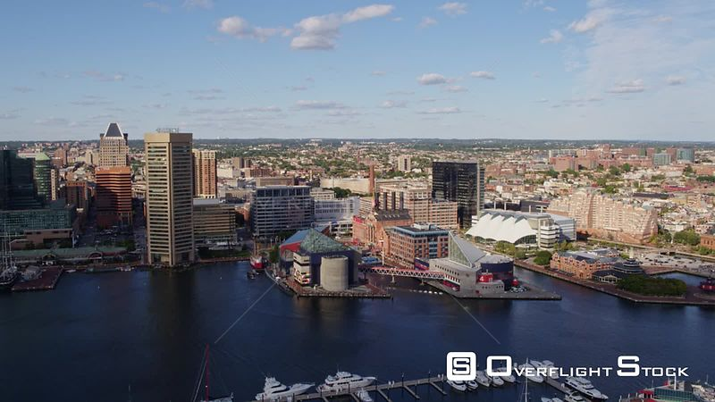 Baltimore Maryland Aerial Panning around inner harbor cityscape with promenade and culture