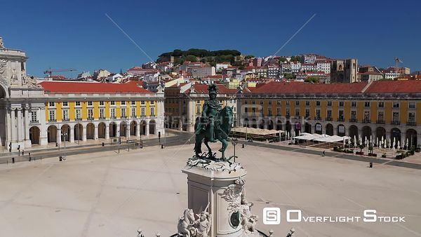 D. José I Statue, in Praca Do Comercio, Terreiro Do Paco, in Lisbon, Empty Streets, During Covid-19 Pandemic, on a Sunny Day,...