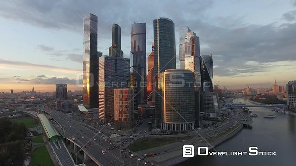 Sunset Flight Towards MBCC, Lower Altitude. Moscow Russia Drone Video View