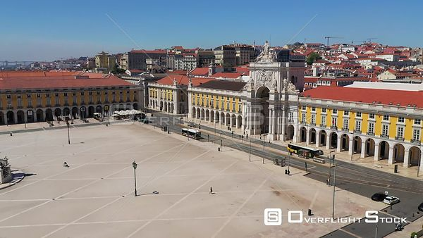 Triumphal Arch, in Praca Do Comercio, Terreiro Do Paco, Revealing 25 April Bridge, in Lisbon, Empty Streets, During Covid-19 ...