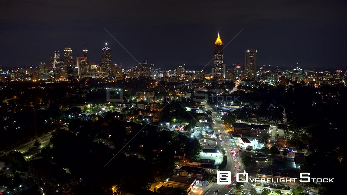 Atlanta Aerial Cityscape hyperlapse moving away from downtown along street route with traffic