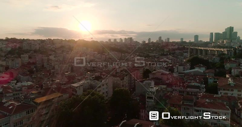 Aerial View of Istanbul Neighbourhood Next to Bosphorus Bridge, Otrakoy Mosque Turkey