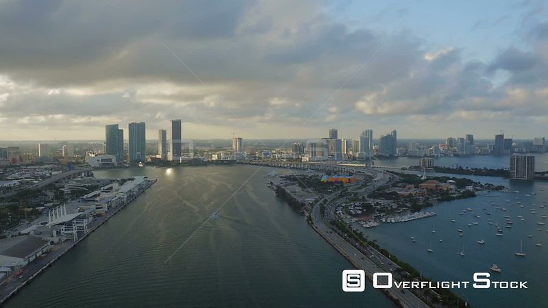 Miami Florida Flying over main channel with cityscape views.