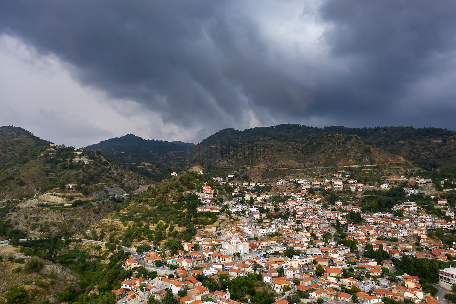 Thunderstorm Approaches the Troodos Mountain Village of Pelendri