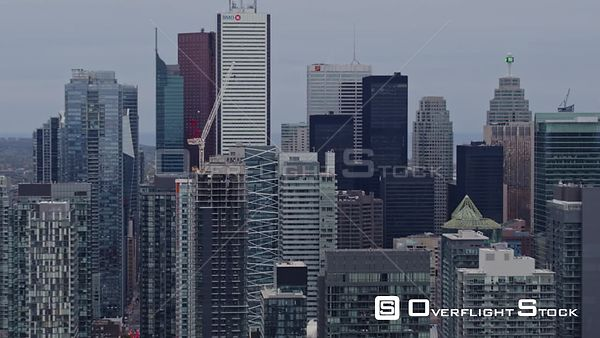 Toronto Ontario Mid vantage detail of downtown skyline fly through