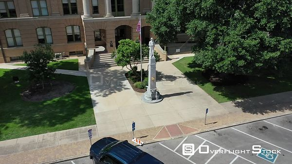 Statues, flags, monuments, and a courthouse building, Georgetown, Texas, USA