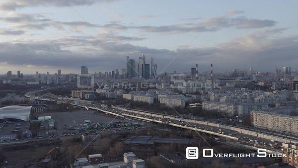 Zoom Out Flight With Moscow City Ground Traffic on the Bottom. Moscow Russia Drone Video View