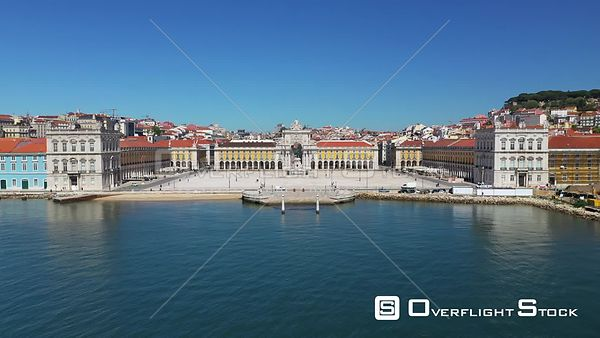 Praca Do Comercio, Flying by S. José Statue and Arch Triumph, in Terreiro Do Paco,in Lisbon, Empty Streets, During Covid-19 P...