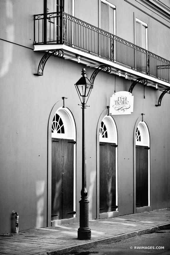 LE PETIT THEATRE FRENCH QUARTER NEW ORLEANS LOUISIANA BLACK AND WHITE VERTICAL