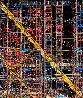 Abstract photograph of construction site scaffolding