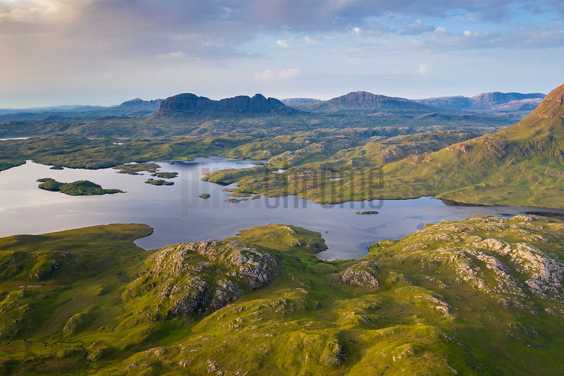 View from Stac Pollaidh Looking North Towards Suilven and Canisp and dramatic Wilderness Landscape of Inverpolly and Assynt