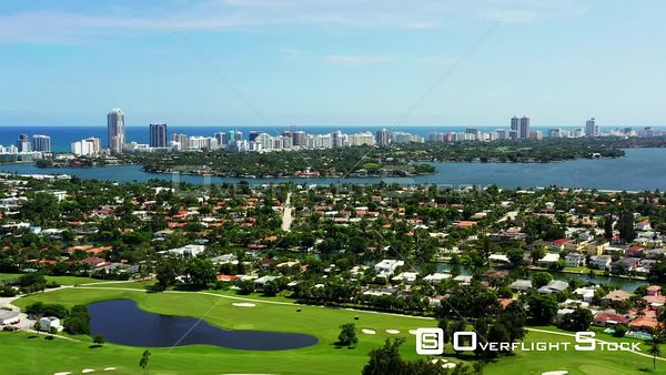 Aerial drone footage Miami Beach Normandy Shores neighborhood with bay view real estate