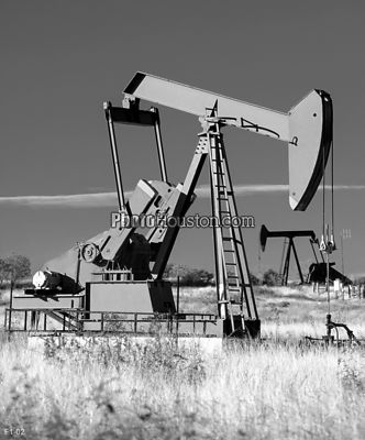 Texas Oil Rigs in black and white
