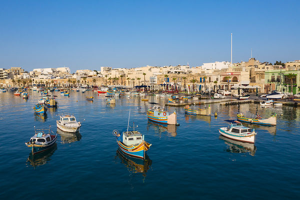 View of the Fishing Port of Marsaxlokk from the Harbour