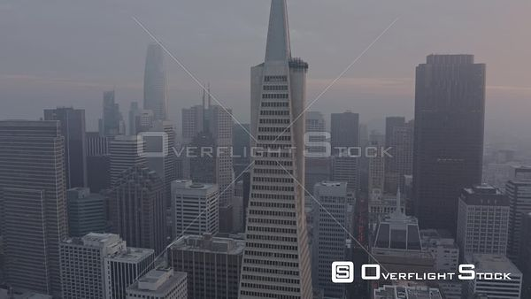 San Francisco Foggy Nob Hill cityscape at sunset