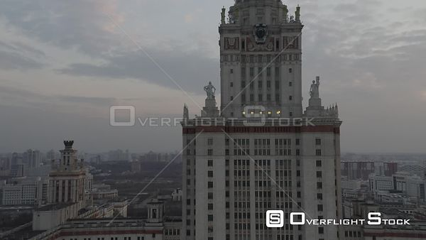 Sunset Moscow State University High Backward Flight. Moscow Russia Drone Video View