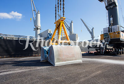 A shovel bucket rests while unloading a ship at the Port of Providence.