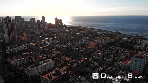 Cuba Havana High birdseye view of sunset over water